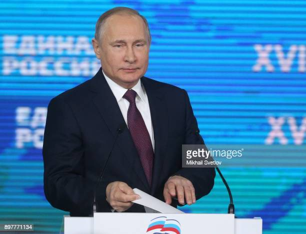 Russian President Vladimir Putin speeches during the XVII Congress of the United Russia Party in Moscow Russia December 2017
