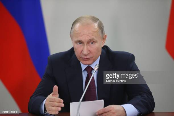 Russian President Vladimir Putin speeches while visiting the LNG plant in Sabetta sea port at Yamal peninsula in Siberia Russia December 8 2017...
