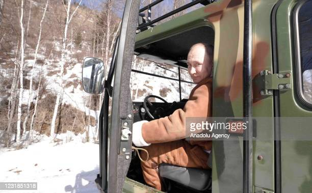 Russian President Vladimir Putin spends his weekend at a forest in Siberia, Russia on March 21, 2021.