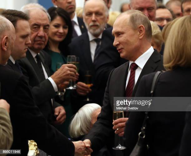 Russian President Vladimir Putin takes part an awarding cemeremony at the Kremlin in Moscow Russia December 18 2017 Vladimir Putin gave the Russian...