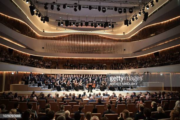 Russian President Vladimir Putin takes part in opening ceremony of Zaryadye concert hall in central Moscow on September 8 2018