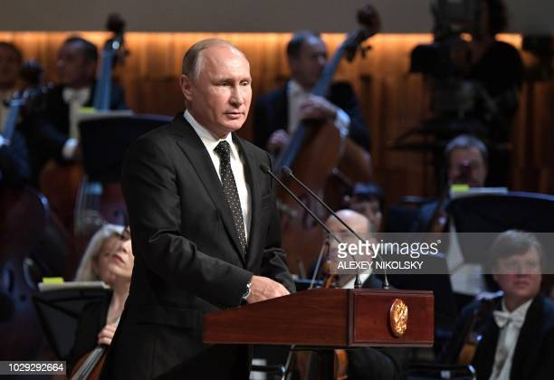 Russian President Vladimir Putin takes part in the opening ceremony of the Zaryadye concert hall in central Moscow on September 8 2018