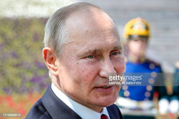 Russian President Vladimir Putin takes part in the presentation ceremony for the Russian Hero of Labour gold medals on Poklonnaya Hill as the nation...