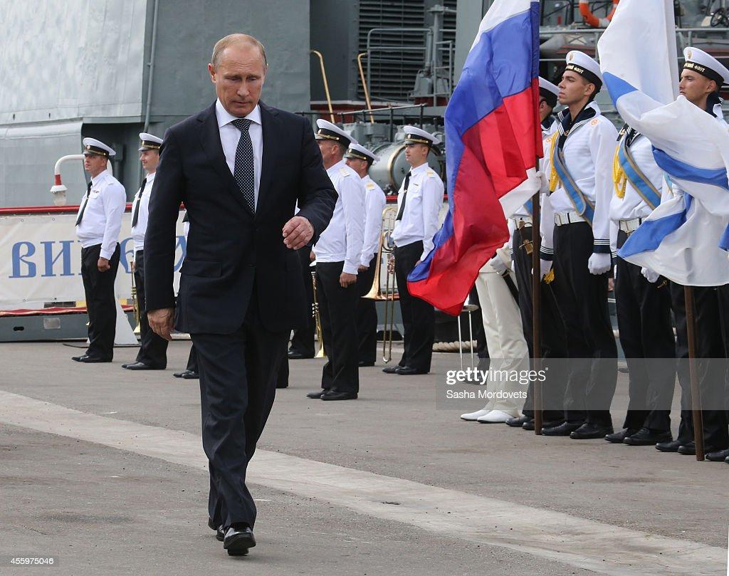 Russian President Vladimir Putin Visits New Naval Base Of Black Sea Fleet In Novorossiysk : News Photo