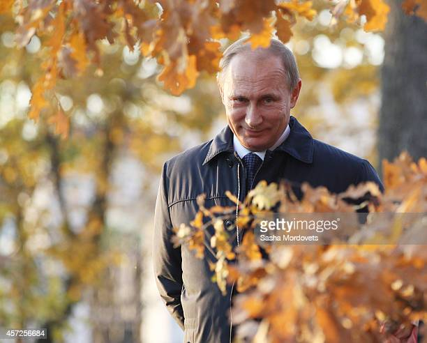Russian President Vladimir Putin walks in the park at estate of the Romantic writer Mikhail Lermontov October 15 2014 in Tarkhany Russia Putin is on...