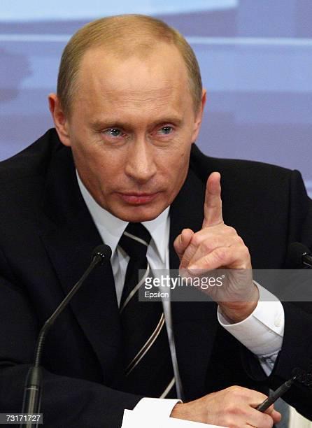 Russian President Vladimir Putin's makes his annual address to Russian and foreign media in the Kremlin February 1 2007 in Moscow Russia Putin denied...