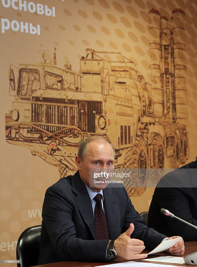 Russian President Vladmir Putin speaks during a meeting on military industry development at the Obukhov state plant on June 19, 2013 in in Saint Petersburg, Russia. Putin held a meeting at the plant on the development and implementation of military services and equipment.