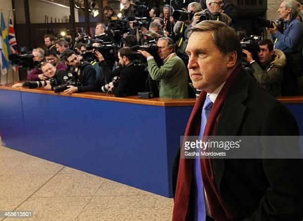 Russian Presidential Advisor Yuri Ushakov arrives to the Russia-EU Summit on January 28, 2014 in Brussels, Belgium.