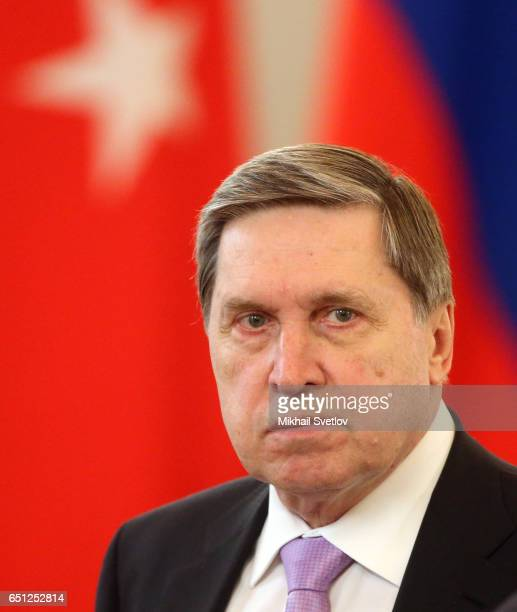 Russian Presidential Aide Yuri Ushakov attends the Russian-Turkish Supreme Council in Cooperation at Grand Kremlin Palace, in Moscow, Russia, March...