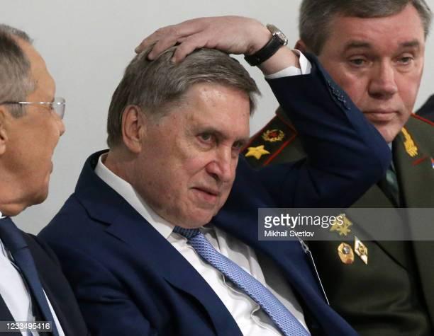 Russian Presidential Aide Yuri Ushakov gestures during the US - Russia Summit 2021 at the La Grange Villa near the Geneva Lake on June 16, 2021 in...