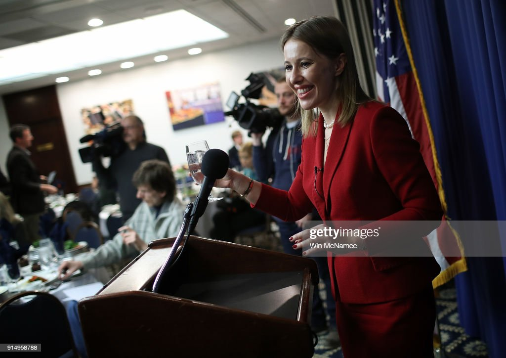 Russian Presidential Candidate Ksenia Sobchak Speaks To The Press In Washington, D.C.