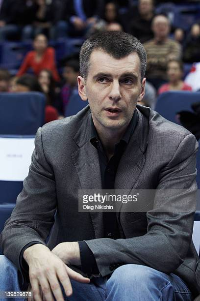 Russian Presidential Candidate Mikhail Prokhorov attends CSKA Moscow vs Olympiakos Greece basketball match on February 22 2012 in Moscow Russia