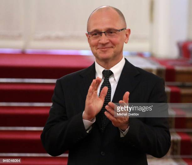 Russian Presidential First Deputy Chief of Staff Sergey Kiriyenko applauds during a reception with graduates of the Leaders of Russia management...