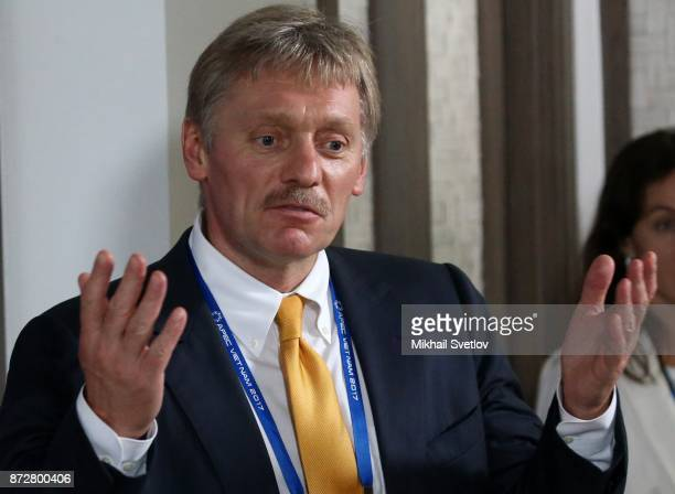 Russian Presidential Press Secretary Dmitry Peskov talks to journalists during the APEC Leaders Summit on November 11 2017 in Da Nang Vietnam