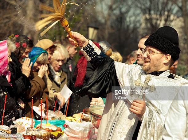 russian priest in an easter day - easter orthodox stock photos and pictures