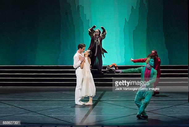 Russian prima ballerina Diana Vishneva dances the title role with Konstantin Zverev as 'The Prince' and Elena Bazhenova as the 'FairyTramp'in the...