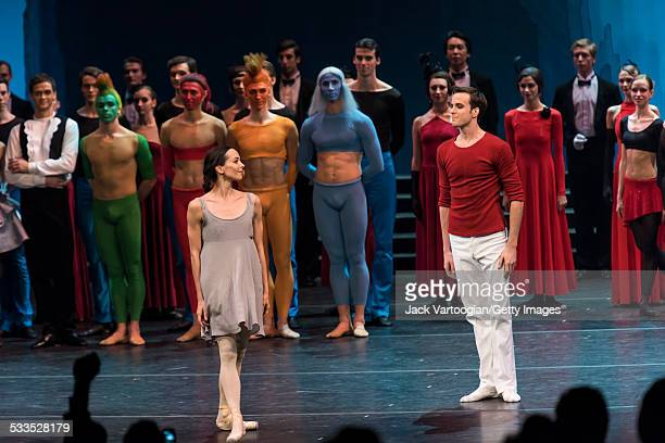 Russian prima ballerina Diana Vishneva in the title role and Konstantin Zverev as 'The Prince' take a bow after performing in the Mariinsky Ballet...