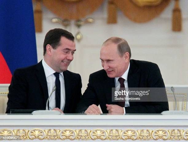 Russian Prime Minister Dmitry Medvedev and President Vladimir Putin attend the session of the State Council in the Grand Kremlin Palace on December...