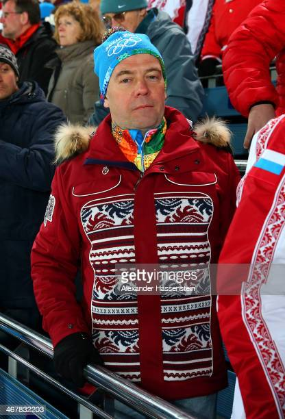 Russian Prime Minister Dmitry Medvedev attends the Men's Sprint 10 km during day one of the Sochi 2014 Winter Olympics at Laura Crosscountry Ski...