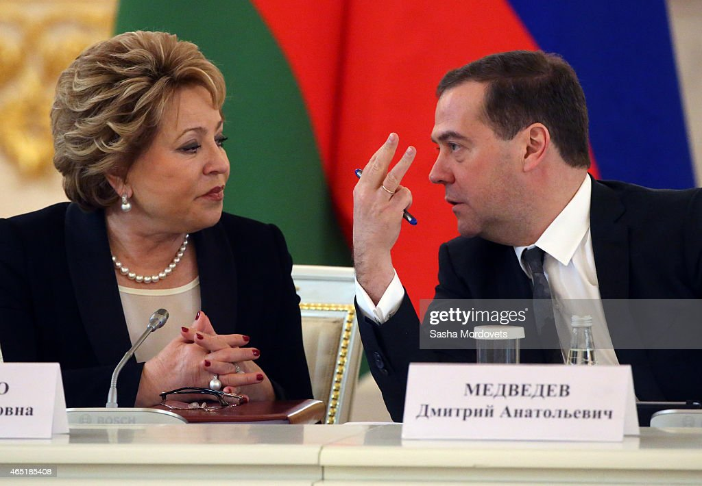 Russian Prime Minister Dmitry Medvedev (R) listens to Council of the Federation Speaker Valentina Matviyenko (L) during Russian-Belarussian talks in the Grand Kremlin Palace March 3, 2015 in Moscow, Russia. Belarussian President Alexander Lukashenko is in Moscow to participate in the Russian-Belarussian Supreme State Council.