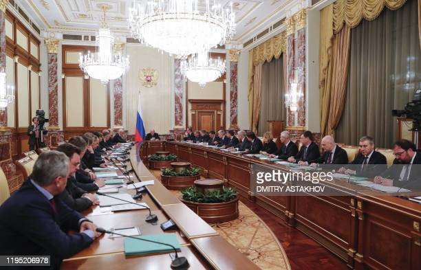 Russian Prime Minister Mikhail Mishustin chairs a meeting with members of the new government in Moscow on January 21 2020