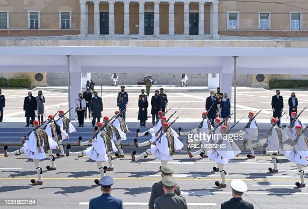 Russian Prime Minister Mikhail Mishustin, Cypriot President Nicos Anastasiades and his wife Andri Anastasiades, Greek President Katerina...