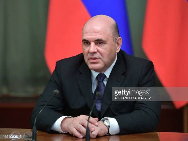 Russian Prime Minister Mikhail Mishustin meets with acting members of the cabinet in Moscow on January 17 2020