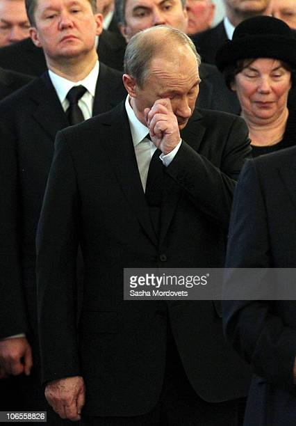 Russian Prime Minister Vladimir Putin and Gazprom's CEO Alexey Miller attend attend in the civil funeral of Viktor Chernomyrdin, the President's...