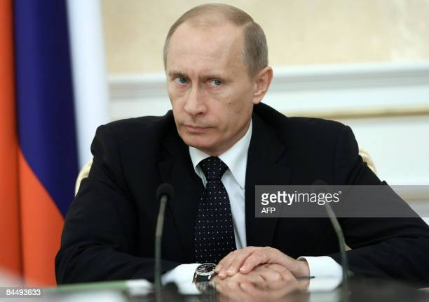 Russian Prime Minister Vladimir Putin attends a meeting in Moscow on January 27 2009 Russia accused Georgia of capturing one of its soldiers in the...