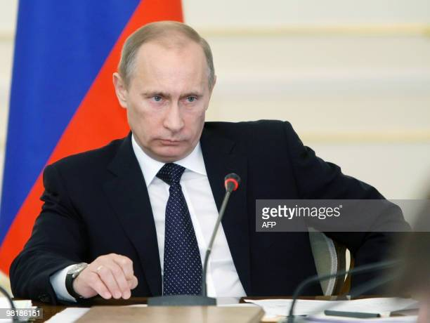 Russian Prime Minister Vladimir Putin attends a meeting outside Moscow in Novo-Ogarevo on March 31, 2010. Putin said the latest attack in the North...