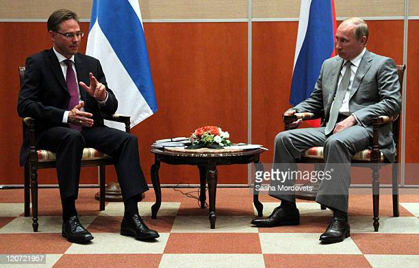 Russian Prime Minister Vladimir Putin meets with Finland's Prime Minister Jyrki Katainen on August 9 2011 in Sochi Russia On the first day of a 2day...