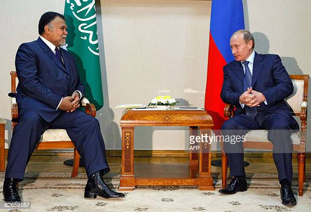 Russian Prime Minister Vladimir Putin meets with Prince Bandar bin Sultan bin Abdul Aziz alSaud Saudi national security council secretary general and...