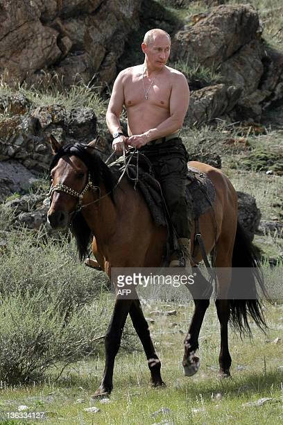 Russian Prime Minister Vladimir Putin rides a horse during his vacation outside the town of Kyzyl in Southern Siberia on August 3 2009 AFP PHOTO /...
