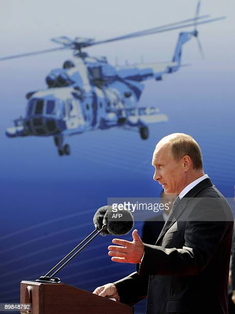 Russian Prime Minister Vladimir Putin speaks during an opening ceremony of the MAKS 2009 international aerospace show in Zhukovsky outside Moscow on...