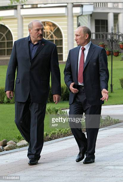 Russian Prime Minister Vladimir Putin speaks on May 19 2011 with Belarussian President Alexander Lukashenko at a presidential residence outside Minsk...