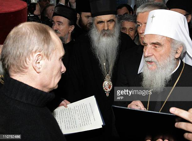 Russian Prime Minister Vladimir Putin visits the Saint Sava Orthodox Cathedral in Belgrade on March 23 2011 Putin assured Serbia yesterday that a...