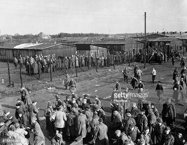 Russian prisoners of war stand on the grounds of Stalag 326 which housed 10000 prisoners during World War II