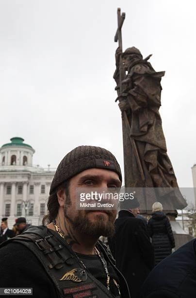 Russian proPutin political activist Night Wolves Bikers Club leader Alexander Zaldostanov also knoun as 'Khirurg' attends the unveilng ceremony of...