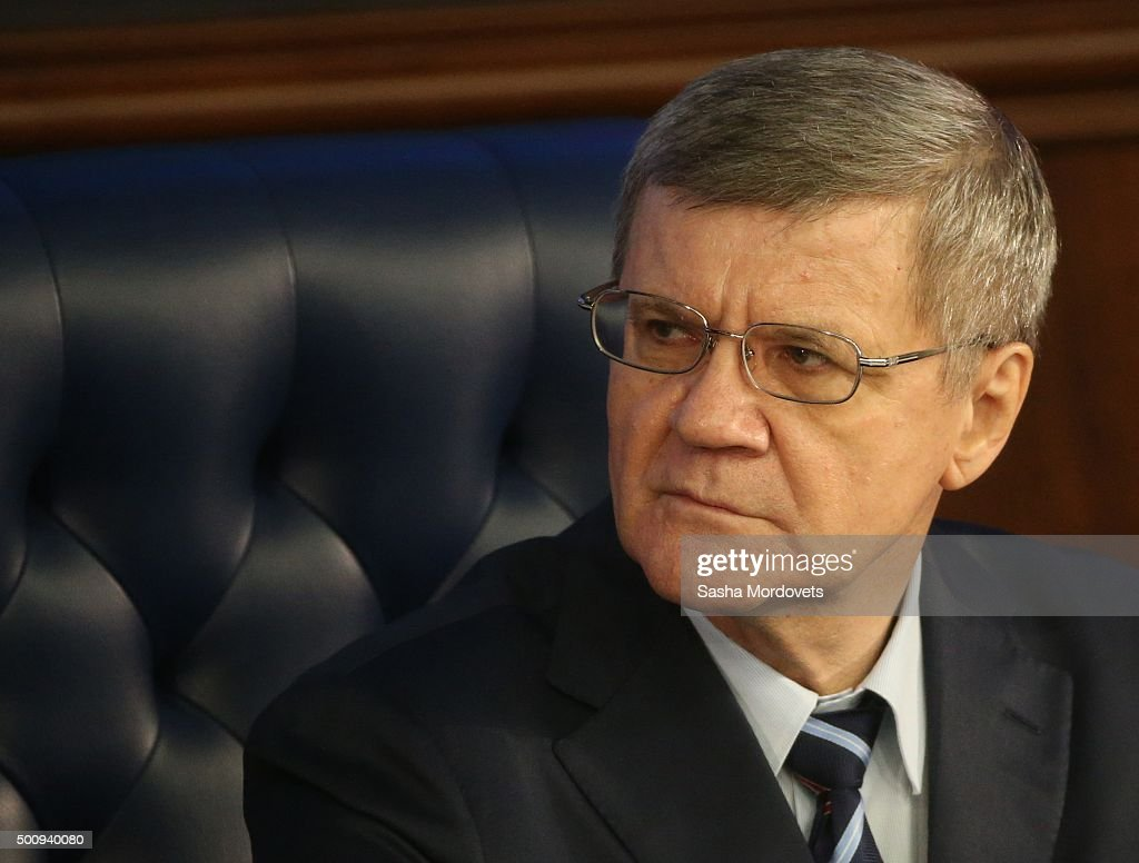 Russian Prosecutor General Yuri Chaika attends an annual meeting with high ranking officers of the Defence Ministry Board on December 11, 2015 in Moscow, Russia.. The President instructed that in undertaking its anti-terrorist operation in Syria, the Ministry of Defense must coordinate its actions with Israeli command and the US-led anti-Daesh coalition.