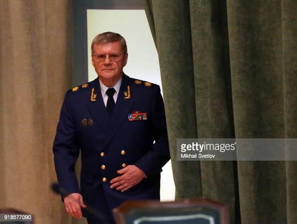 Russian Prosecutor General Yuri Chaika attends the meeting of the Extended Board of the Prosecutor General's Office on February 15 in Moscow...