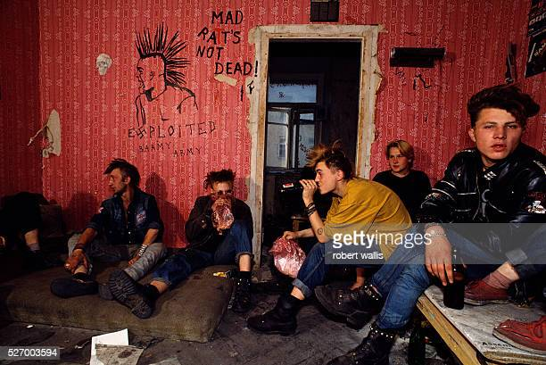 Russian punks living in abandoned building next to Pushkin Square where they survive off of Pizza Hut and McDonald's garbage bins and panhandling