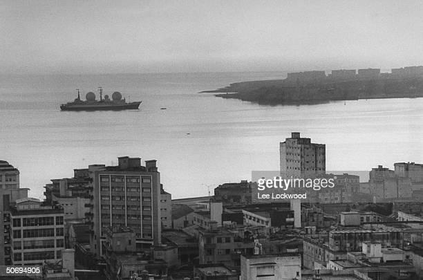 Russian radardome weather ship sailing into Havana harbor for servicing