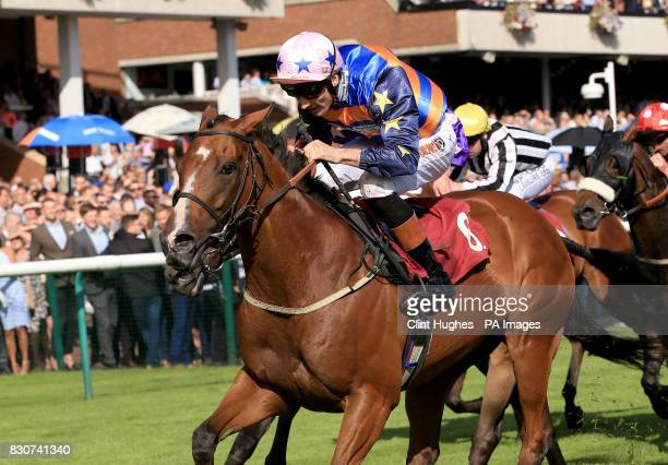 Russian Realm ridden by Dougie Costello wins the Betfred Supports Jack Berry House Handicap Stakes during Betfred Rose of Lancaster Stakes Ladies Day...