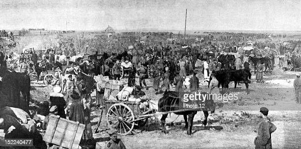 US S R Russian revolution civil war After the Odessa evacuation Russian refugees and volunteers with women and children camping at the Dniester mouth...