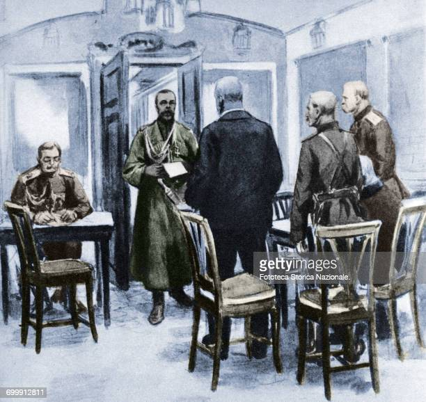 Russian Revolution Czar Nicholas II Romanov the last emperor of Russia reads the act of abdication to the messengers of Kerensky the Duma in its...