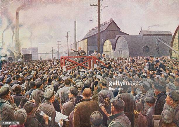 Lenin addressing a meeting at the Putilov Works in Petrograd 1917