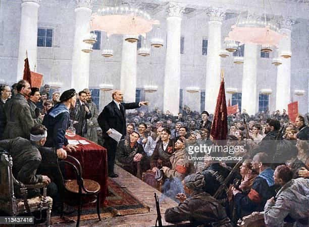 Russian Revolution October 1917 Vladimir Ilyich Lenin haranguing the deputies of the Second Soviet Congress in the Smolny Palace St Petersburg