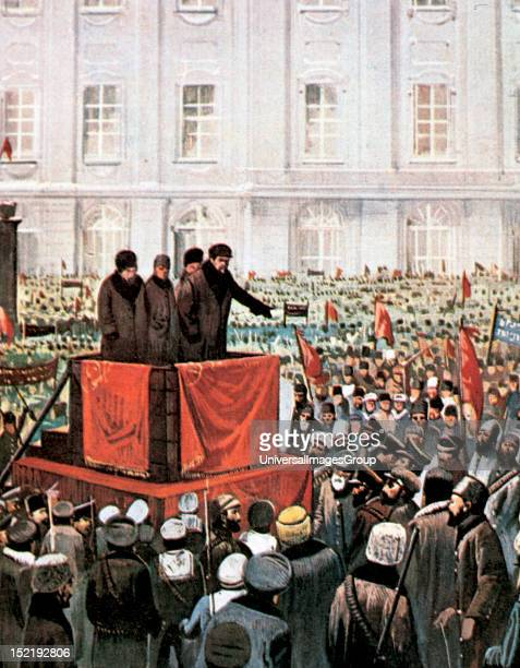 Russian Revolution Rally by Lenin and Leon Trotsky in St Petersburg after the October Revolution of 1917 the extremists socialists have managed to...
