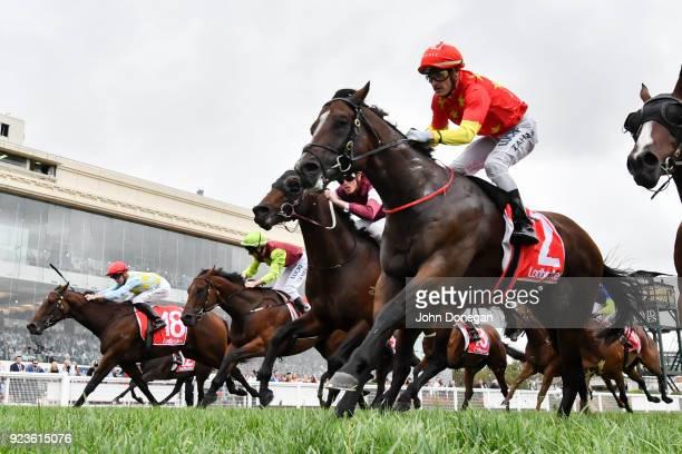 Russian Revolution ridden by Mark Zahra wins the Ladbrokes Oakleigh Plate at Caulfield Racecourse on February 24 2018 in Caulfield Australia