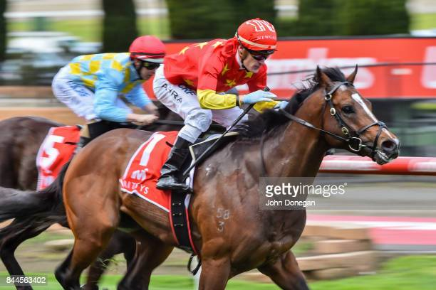 Russian Revolution ridden by Mark Zahra wins the Mitty's McEwen Stakes at Moonee Valley Racecourse on September 09 2017 in Moonee Ponds Australia